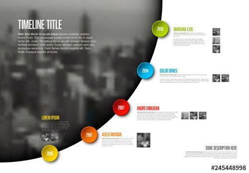 Timeline buttons on photo src infographic vector