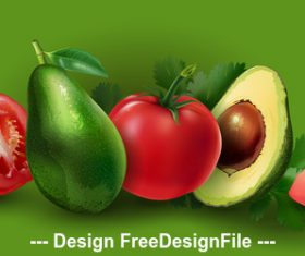 Tomato and avocado banner vector