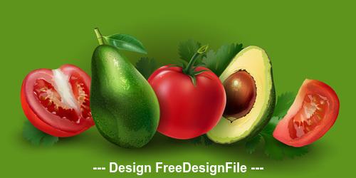 Tomato and avocado banner vector