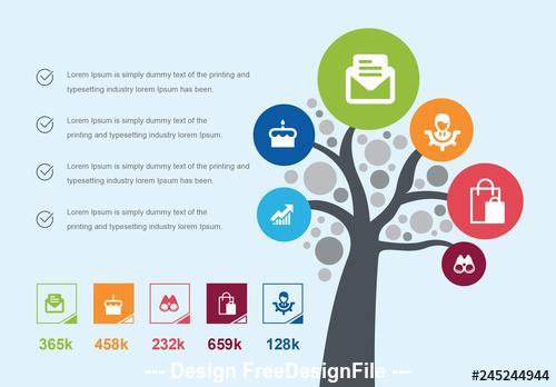 Tree infographic with icons vector