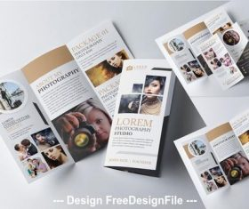 Tri-fold brochure layout with gold vector