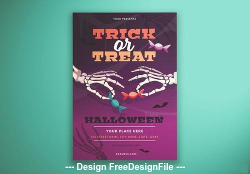 Trick or treat flyer layout with illustrated skeleton hands vector