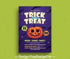 Trick or treat flyer vector