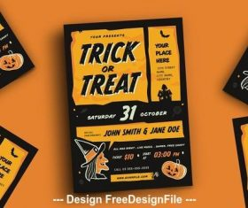 Trick or treat halloween event flyer vector
