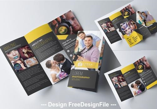 Trifold photography brochure template with dark yellow vector