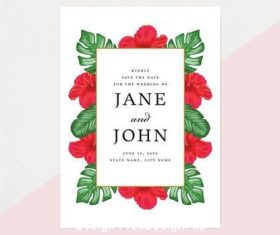 Tropical save the date card vector