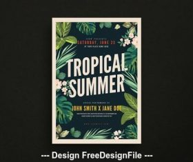 Tropical summer party flyer vector