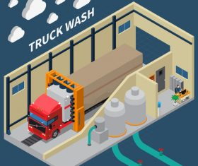 Truck wash cartoon background vector