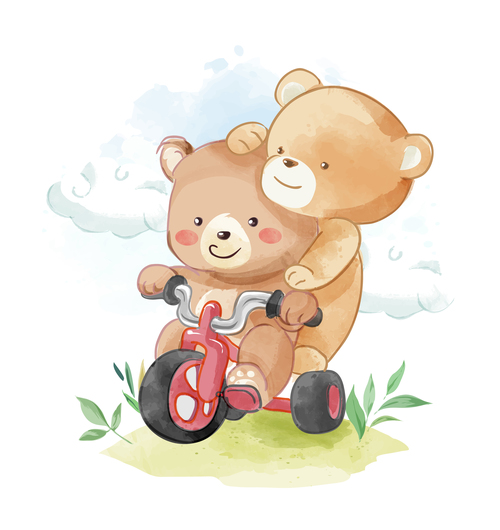 Two little bears cartoon illustration vector