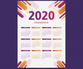 Two-tone 2020 calendar template vector