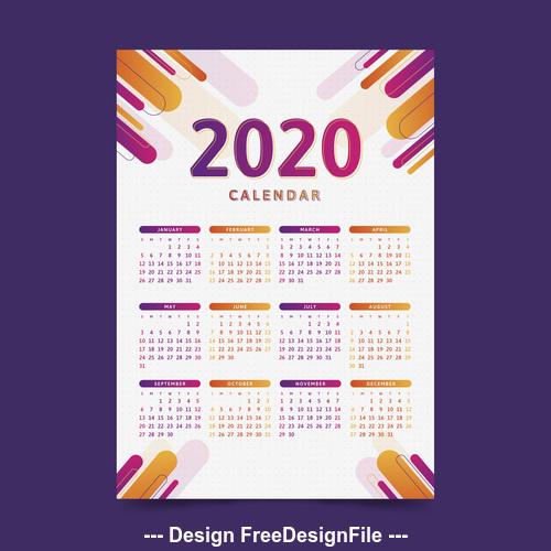 Two tone 2020 calendar template vector