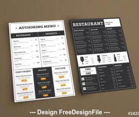 Type-based restaurant menu vector
