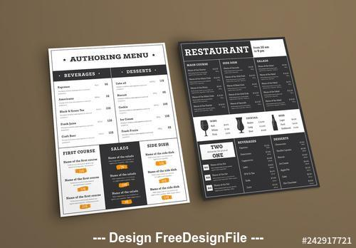 Type based restaurant menu vector