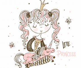 Unicorn and little princess cartoon background illustration vector