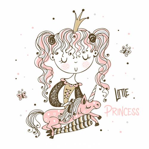 Unicorn and little princess cartoon background illustration vector