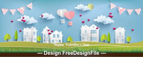 Urban paper cut art and valentines day decoration vector