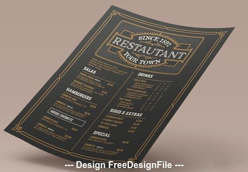 VBlack background white font restaurant menu template card vector