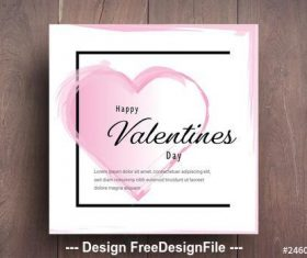 Valentines day card layout with pink accents vector