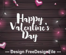 Valentines day card vector on wooden background