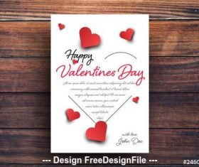 Valentines day card with heart silhouette vector