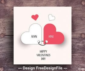 Valentines day card with red accents vector