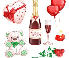 Valentines day elements cartoon illustration vector