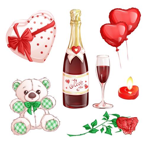 Valentines day elements cartoon illustration vector