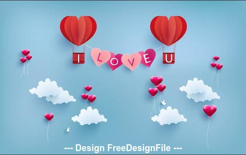 Valentines day greeting card decoration illustration vector