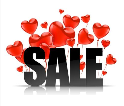 Valentines day heart balloon sale flyer vector
