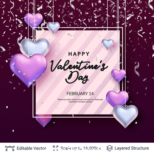 Valentines day heart pendant greeting card vector