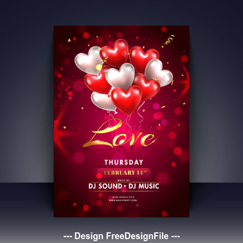 Valentines day music party flyer vector