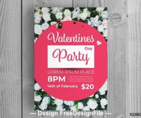 Valentines day party Invitation layout vector