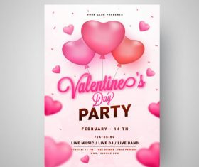 Valentines day party card vector