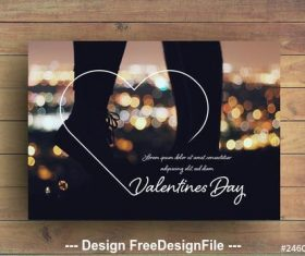 Valentines day photo frame card layout vector