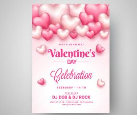 Valentines day pink card vector