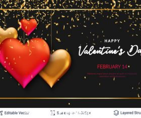 Valentines day pretty greeting card vector