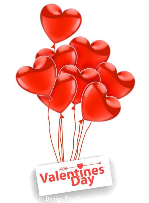Valentines day realistic glossy balloons vector