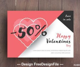 Valentines day sale card layout vector