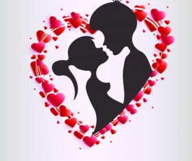 Valentines day silhouette vector