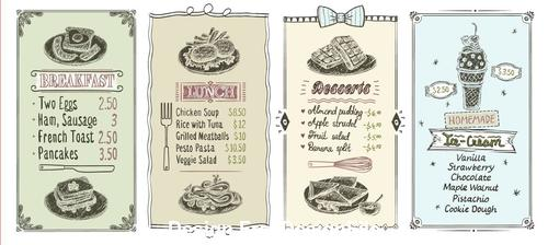 Various restaurant menu templates vector