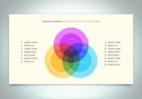Venn diagram infographic vector