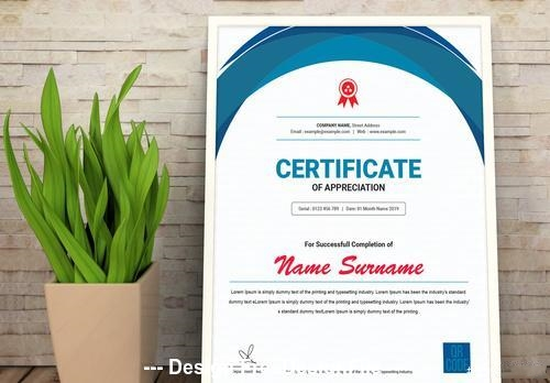 Vertical certificate layout with blue vector