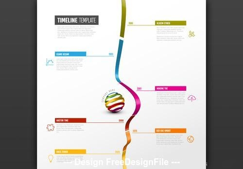Vertical timeline with 3D ribbon vector