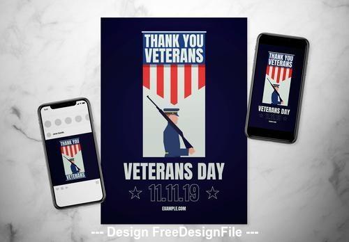 Veterans day event flyer vector
