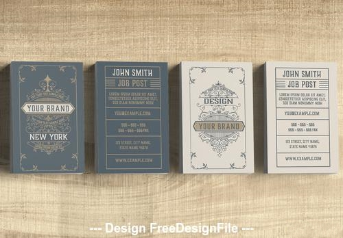 Vintage business card with ornaments vector