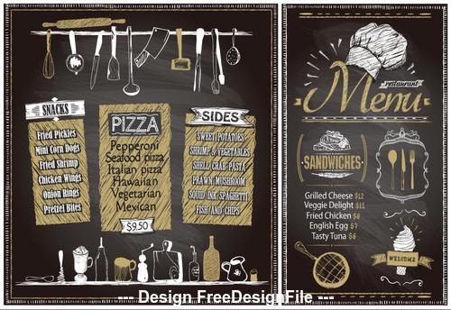 Vintage menu template vector
