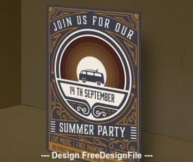 Vintage summer party invitation vector