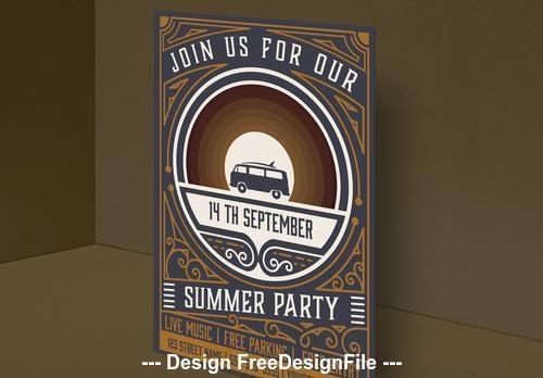 Vintage summer party invitation vector