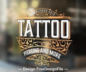 Vintage tattoo logo with gold elements vector