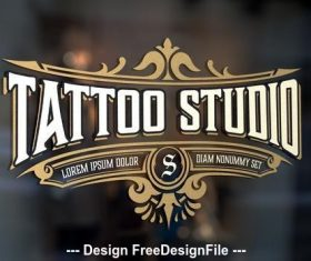 Vintage tattoo logo with gold vector